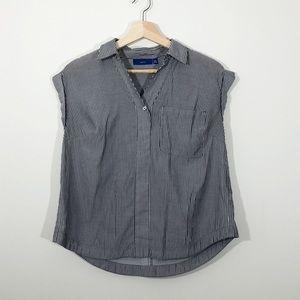 APT. 9 • Gray & White Striped Short Sleeve Popover